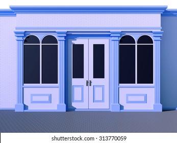 Stylish blue facade shopfront - classic store front
