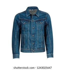 Stylish blue men's jeans jacket isolated on white background. Ghost mannequin photography