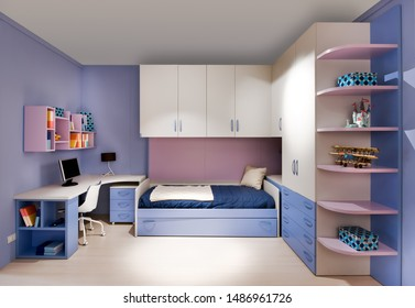 Stylish blue and purple teenagers bedroom interior with built-in wall cabinets and shelves, a single divan style bed and small desk