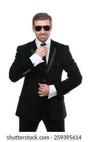 Stylish bodyguard with sunglasses. Isolated over white background