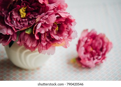 Stylish bouquet, beauty bunch of pink peony , summer lovely bouquet.  Card, text  place, copy space. Wallpaper, trendy color.