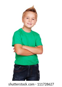 Stylish boy in green top on white background