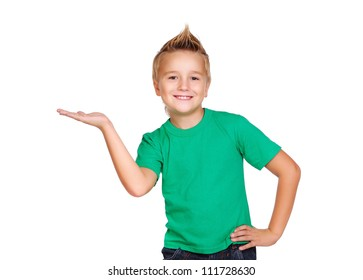 Stylish boy in green top on white background making a presenting gesture