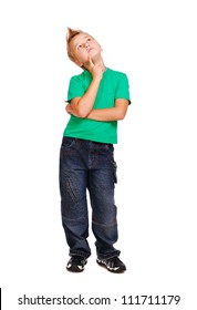 Stylish boy in green tshirt over white background full length looking up