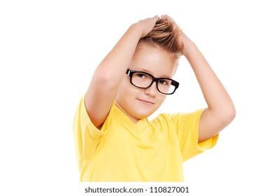 Stylish boy making a mohawk hairstyle to himself