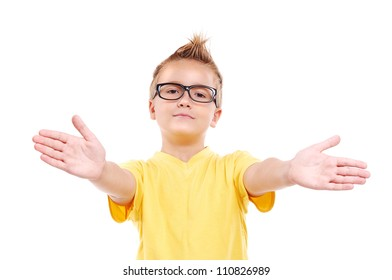 Stylish boy making a presenting gesture with hands
