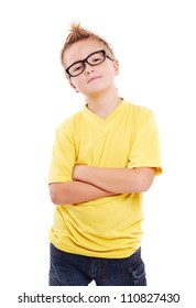 Stylish boy in yellow tshirt and glasses over white background closeup portrait