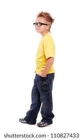 Stylish boy in yellow tshirt over white background  full length