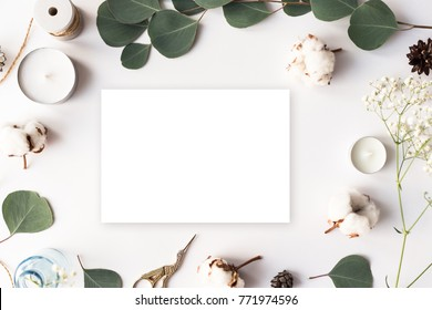 Stylish branding mockup to display your artworks. Cute vintage mock up on wooden background. Flat lay top view.