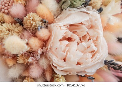 Stylish bridal bouquet of preserved flowers and lagurus with boutonniere. Dried and preserved flowers bride's bouquet in delicate peach tones from cotton,roses and lagurus.