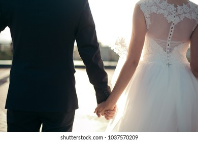 Stylish bride and groom who are sensually holding hands