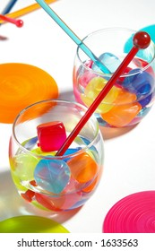 Stylish and brightly colored drinks.