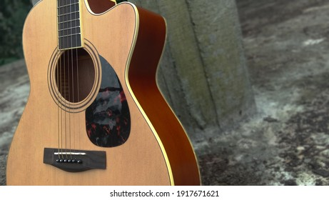 Stylish brown acoustic guitar on a buillding backround