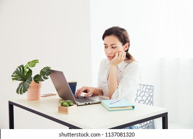 Stylish brunette woman working in the light office. Thoughtful office worker woman with laptop on the table