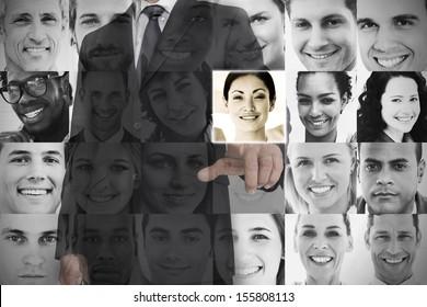 Stylish businessman choosing profile picture on digital screen