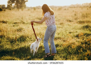 Stylish casual woman walking with cute white puppy in summer meadow. Young female on a walk with her doggy in warm sunshine light. Adoption concept, loyal friend