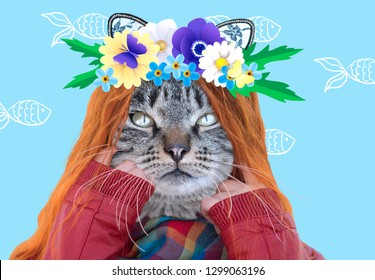 Stylish cat with a wreath of flowers on his head. Art contemporary  collage. Zine culture, mixed media.