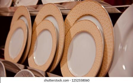 Stylish ceramic plates isolated unique photograph