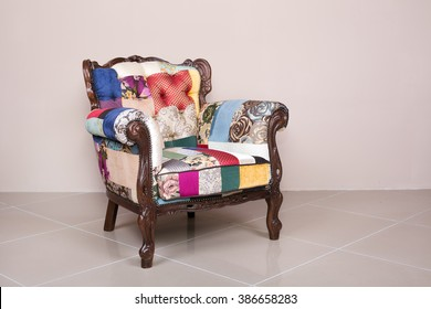 stylish chair of patchwork fabric