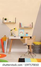 Stylish child room interior with modern furniture