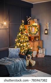 Stylish Christmas decor. Festive interior decoration.