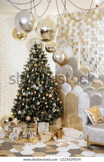 Stylish Christmas Living Room Decor Gold Stock Photo (Edit ...