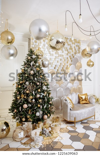 Stylish Christmas Living Room Decor Gold Stock Photo Edit Now 1225639063