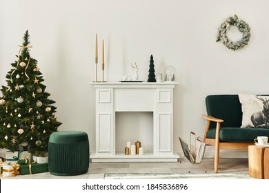 Stylish christmas living room interior with green sofa, white chimney, christmas tree and wreath, gifts and decoration. Santa claus is coming. Template.