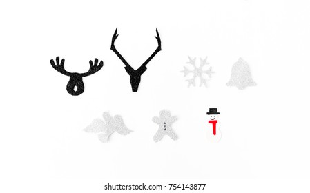 stylish christmas time cutouts, hand made and crafted, carboard for christmas time, flat lay top view.