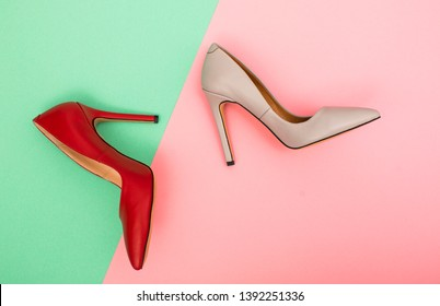 Stylish classic women's beige leather shoes with medium high heels shot from top. Copy space, top view, flat lay. Shoe sale / clearance ad concept.