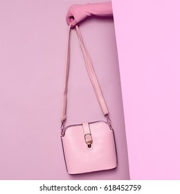 Stylish clothes. Minimal fashion. Pink Lady's bag for summer. Wardrobe Trends Ideas