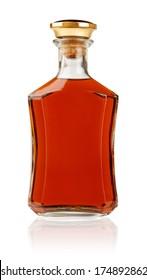 Stylish cognac bottle standing isolated on white background