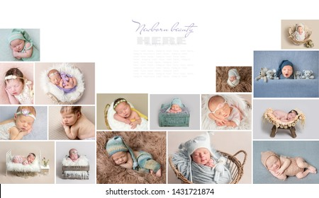 Stylish collage with photos of cute newborn babies, with text space