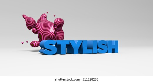 STYLISH -  color type on white studiobackground with design element - 3D rendered royalty free stock picture. This image can be used for an online website banner ad or a print postcard.