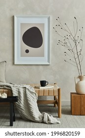 Stylish composition of cozy living room interior with mock up poster frame, pillow and plaid on the chaise longue, dry banch in beige vase on the wooden cube and elegant personal accessories. Template