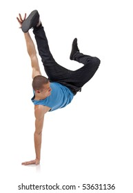 stylish and cool breakdance style dancer posing on a white background
