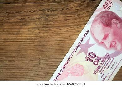 stylish copy space wint wooden background and Turkish lira parer