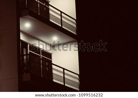 Stylish corridor lights of a modern architectural building isolated unique photo