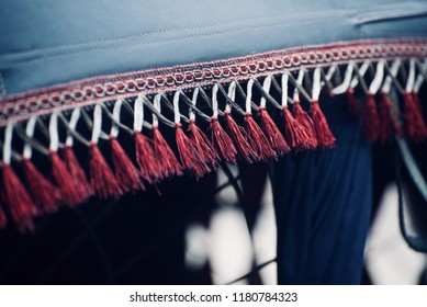 Stylish cotton made reddish decorative elements isolated unique blurry photo