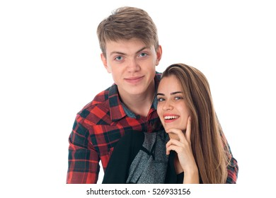 stylish couple in love in studio
