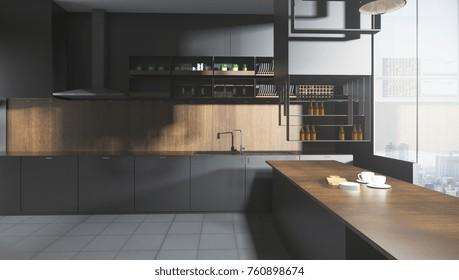 Stylish dark wooden kitchen studio interor with city view and sunlight. 3D Rendering