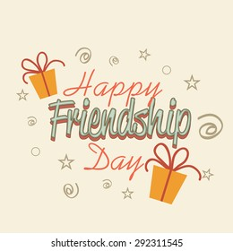 Stylish decorated text card for friendship day.