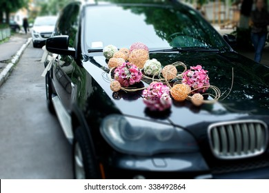 Wedding car decoration images stock photos vectors shutterstock a stylish decoration of white flowers ribbons and pink balls on a shiny bmw wedding junglespirit Choice Image