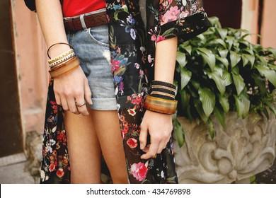 Stylish denim shorts. Details. Youth summer fashion, boho, bohemian, hippy vibes. Photo toned style instagram filters