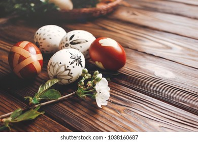 stylish easter eggs with cherry flowers branch on wooden background in soft light. modern eggs natural dyed with herbs. space for text. happy easter greeting