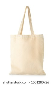 Stylish eco bag on white background