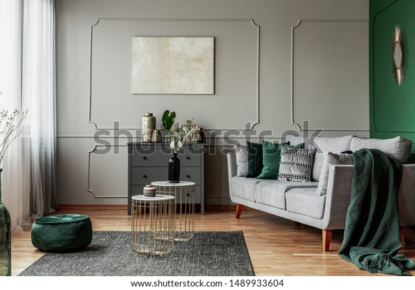 Stylish Emerald Green Grey Living Room Stock Photo Edit Now 1489933604