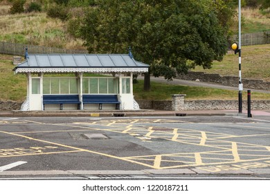 Stylish English vintage exterior Bus stop shelter in Southern On Sea, Essex UK