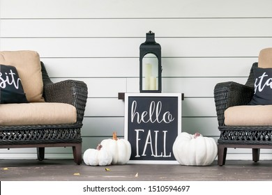 Stylish fall decorations in black and white on the front porch - hello fall - Shutterstock ID 1510594697