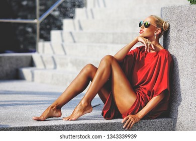 Stylish fashion female street portrait